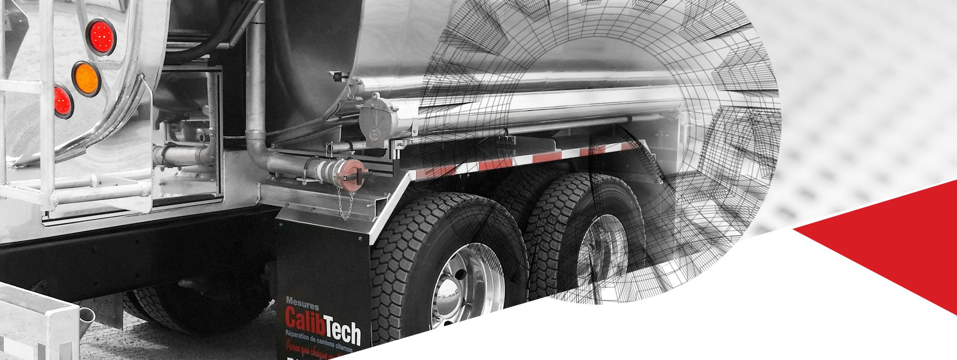 Vue arrière d'un camion-citerne |Camion-citerne |Mesures Calib-Tech |Montréal