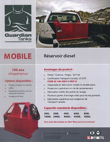 Aperçu du catalogue des produits AGB Guardian Tank | Camion-citerne | Mesures Calib-Tech | Montréal