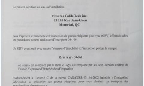 Certificat d'inscription pour l'épreuve d'étanchéité et l'inspection de grands récipients pour vrac (GRV) | Mesures Calib-Tech | Montréal