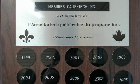 Certificat de l'Association québécoise du propane inc. | Camion-citerne | Mesures Calib-Tech | Montréal