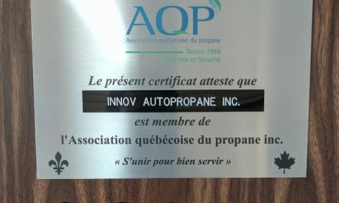 Certificat de l'Association québécoise du propane inc pour Innov Autopropane inc. | Camion-citerne | Mesures Calib-Tech | Montréal