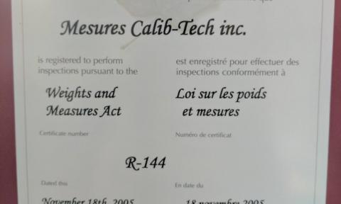 Certificat d'autorisation d'inspection (Loi sur les poids et mesures) | Camion-citerne | Mesures Calib-Tech | Montréal