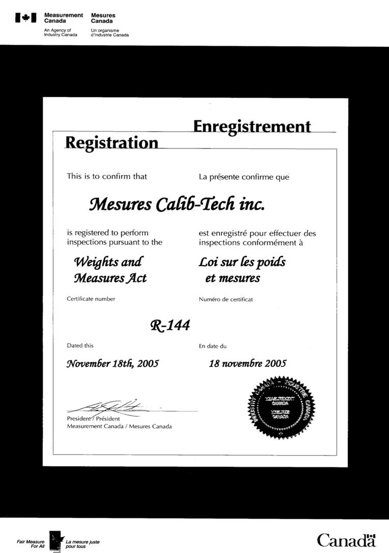 certificat de calibration